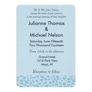 Sky Blue Leopard Print Wedding 13 Cm X 18 Cm Invitation Card