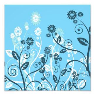 Sky Blue Modern Floral Photo