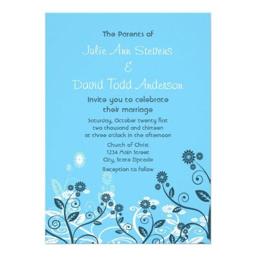 Sky Blue Modern Floral Wedding Custom Invite