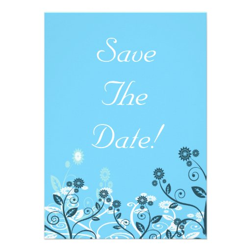 Sky Blue Modern Floral Wedding Save The Date Invites