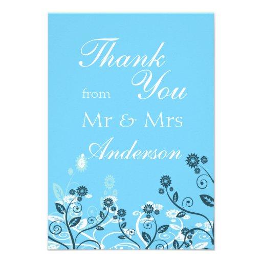Sky Blue Modern Floral Wedding Thank You Custom Invitation