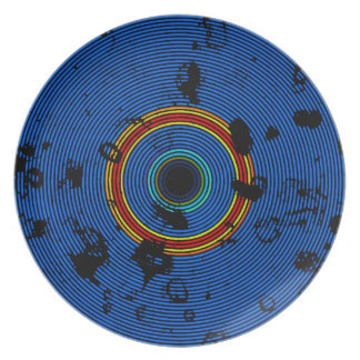 Sky Blue Multicolor Vinyl Disc Texture Pattern Dinner Plates