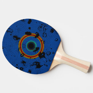 Sky Blue Multicolor Vinyl Disc Texture Pattern Ping Pong Paddle