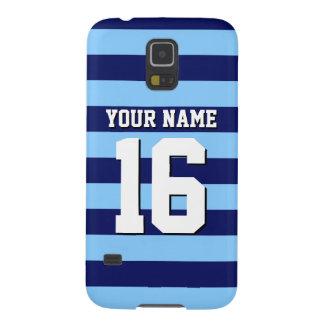 Sky Blue Navy Blue Sports Jersey Preppy Stripe Galaxy S5 Cover