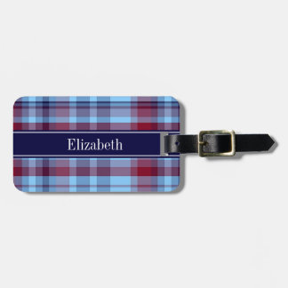 Sky Blue Navy Burgundy Preppy Madras N Monogram Bag Tag