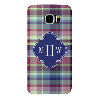 Sky Blue Navy Burgundy Wht Preppy Madras Monogram Samsung Galaxy S6 Cases