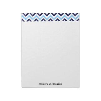 Sky Blue, Navy, White Large Chevron ZigZag Pattern Notepad