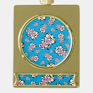Sky blue nerd cow pattern gold plated banner ornament