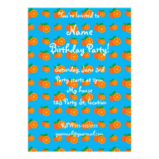 Sky blue oranges pattern personalized invitation