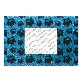 Sky blue owl glitter pattern photographic print