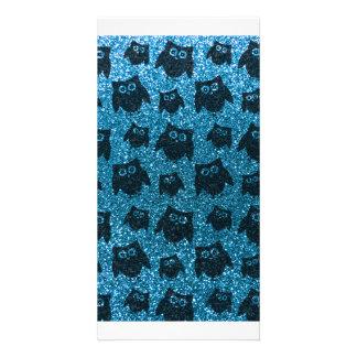 Sky blue owl glitter pattern picture card