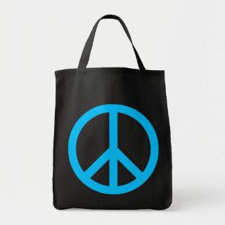 Sky Blue Peace Symbol Canvas Bags