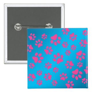 Sky blue pink dog paws 15 cm square badge