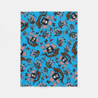Sky blue pirate ship pattern fleece blanket