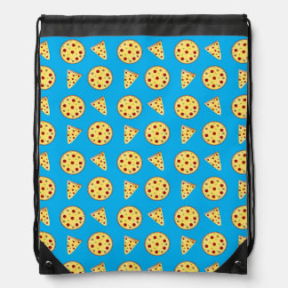 Sky blue pizza pattern drawstring bag