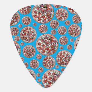 Sky blue pizza pie guitar pick