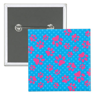 Sky blue polka dots pink dog paws 15 cm square badge