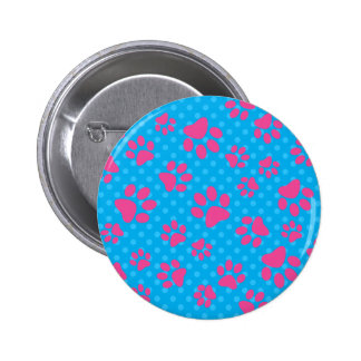 Sky blue polka dots pink dog paws 6 cm round badge