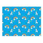 Sky blue rainbow unicorn hearts stars pattern postcard