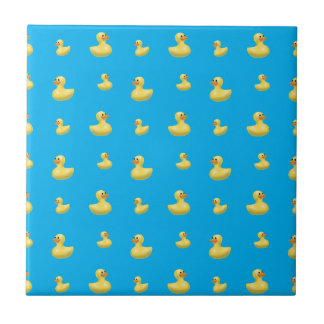Sky blue rubber duck pattern small square tile