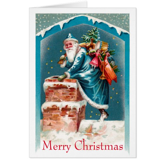 Sky Blue Santa Note Card
