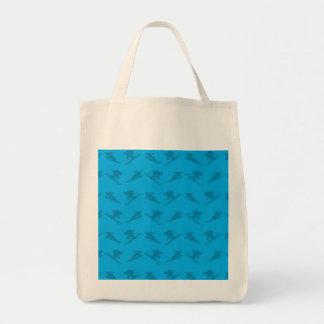 Sky blue ski pattern grocery tote bag