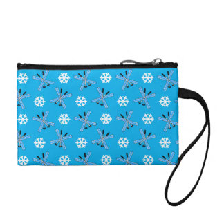 Sky blue skis and snowflakes pattern change purses