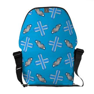 Sky blue snowboard pattern courier bag