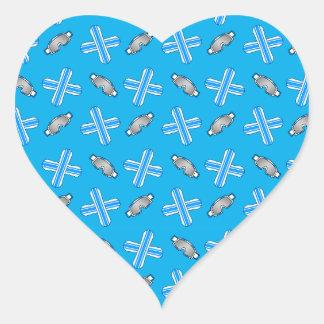 Sky blue snowboard pattern heart sticker