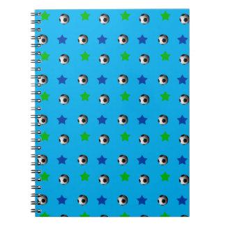 Sky blue soccer balls and stars notebooks