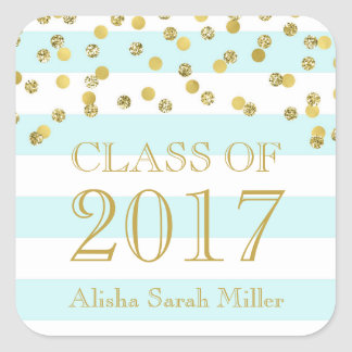 Sky Blue Stripe Gold Graduation Class of 2017 Square Sticker