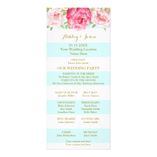 Sky Blue Stripes Pink Watercolor Wedding Program Rack Card