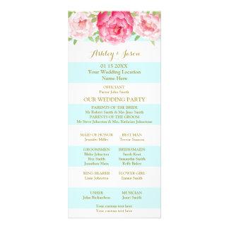 Sky Blue Stripes Pink Watercolor Wedding Program Rack Card Design