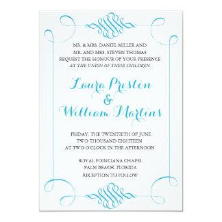 Sky Blue Swirls Wedding Invitation
