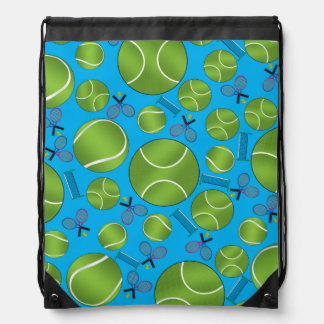 Sky blue tennis balls rackets and nets drawstring bag