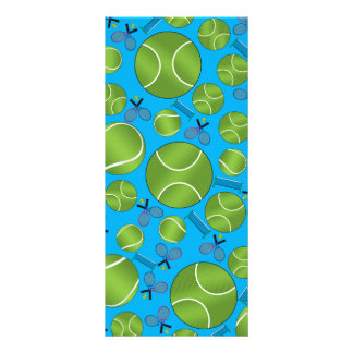 Sky blue tennis balls rackets and nets personalized rack card
