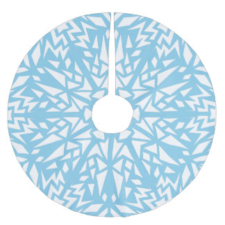 Sky Blue Triangles Snowflake Pattern Brushed Polyester Tree Skirt