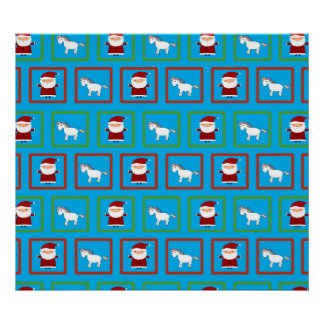 Sky blue unicorns santa claus pattern print