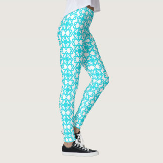 Sky Blue Vintage Abstract Design Leggings