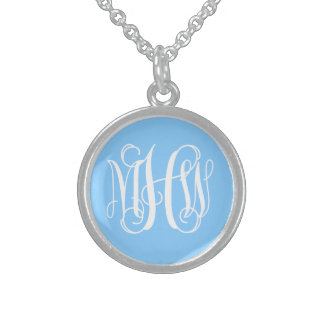 Sky Blue White 3 Initials Vine Script Monogram Sterling Silver Necklace