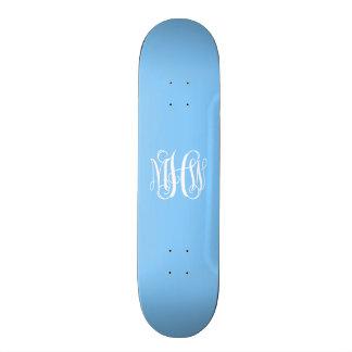Sky Blue White 3 Initials Vine Script Monogram Skate Boards