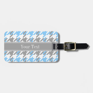 Sky Blue White Dk Gray Houndstooth Name Monogram Luggage Tag