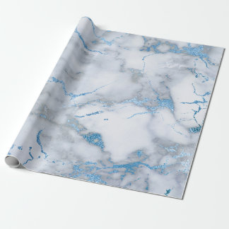 Sky Blue White Gray Marble Shiny Brushes Wrapping Paper