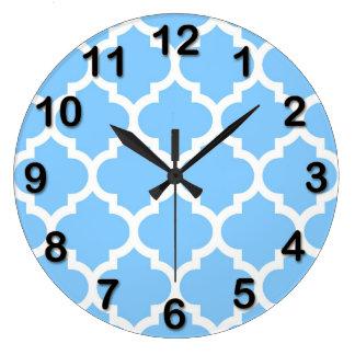 Sky Blue White Moroccan Quatrefoil Pattern #5 Large Clock