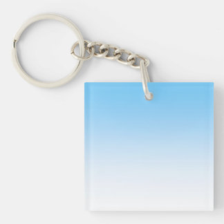 Sky Blue White Ombre Double-Sided Square Acrylic Key Ring