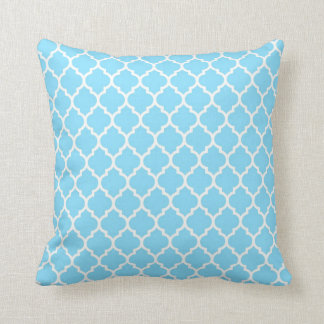 Sky Blue - White Quatrefoil Pillow Throw Cushions