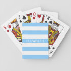 Sky Blue Wht Horiz Preppy Stripe Name Monogram Playing Cards