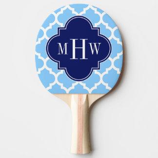 Sky Blue Wht Moroccan #5 Navy Blu 5c Name Monogram Ping Pong Paddle