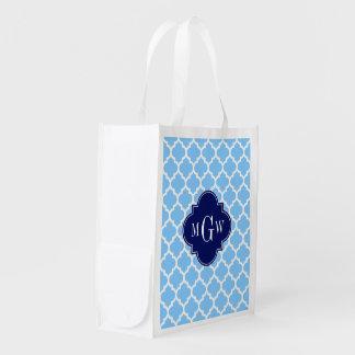 Sky Blue Wht Moroccan #5 Navy Blu 5c Name Monogram Reusable Grocery Bag