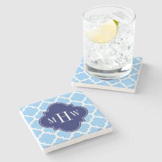 Sky Blue Wht Moroccan #5 Navy Blu 5c Name Monogram Stone Coaster
